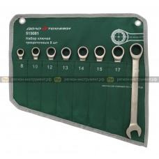 Набор ключей комбинированных трещоточных 8 шт., планшет тетрон 515081